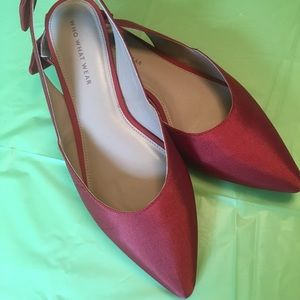 Red sling back flats